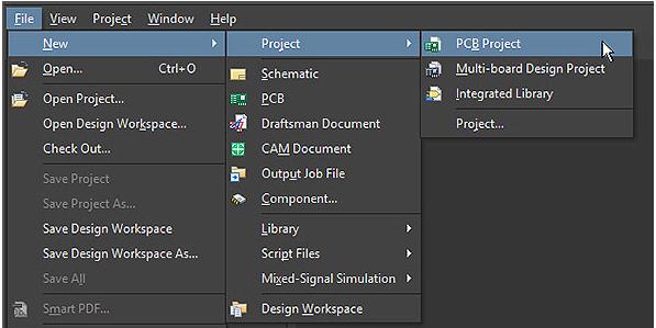 ایجاد یک پروژه PCB جدید