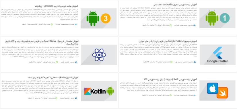 تصویر معرفی فیلمهای آموزش توسعه اپلیکیشن موبایل فرادرس در مقاله ۵۰ ایده برای برنامه نویسی اپلیکیشن