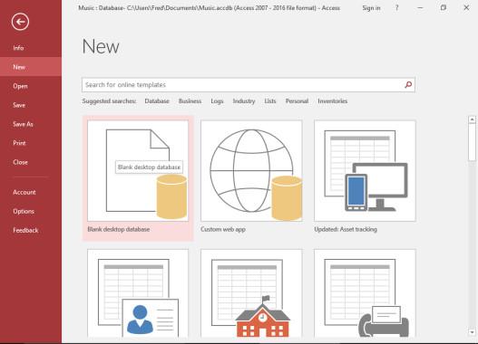 تصویر مربوط به مرحله اول ایجاد یک بانک اطلاعاتی جدید از طریق رابط کاربری در اکسس که در مقاله «بانک اطلاعاتی چیست» برای آموزش بانک اطلاعاتی ارائه شده است.
