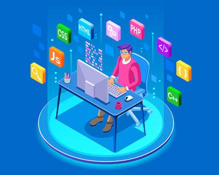 تصویر گرافیکی یک توسعه دهنده وب که فناوری های مختلف برنامه نویسی وب در اطرافش نمایش داده شدهاند.   برنامه نویسی وب چیست