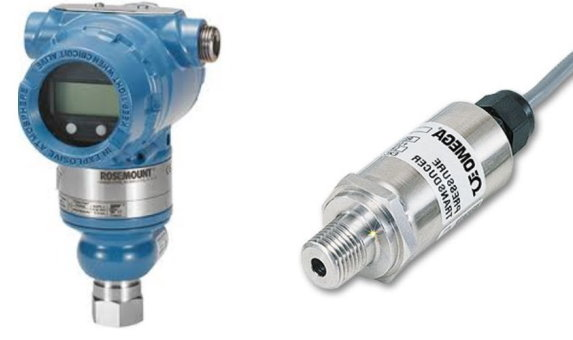 ترانسدیوسر فشار (سمت راست) و پرشر ترانسمیتر (سمت چپ)