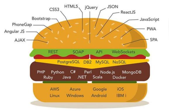 تصویر مربوط به تمام زبان های برنامه نویسی ، فریم ورک ها و فناوری هایی که در لایه های مختلف برنامه نویسی وب به کار گرفته می شوند