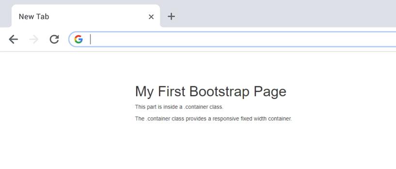 تصویر مربوط به خروجی کدهای اولین صفحه بوت استرپ با کانتینر واکنش گرای عرض ثابت که در مقاله «فریم ورک بوت استرپ چیست» استفاده شده است