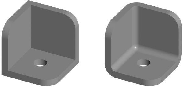 مقایسه طراحی صحیح با گوشههای گرد (سمت راست) و طراحی غلط با گوشههای تیز (سمت چپ)