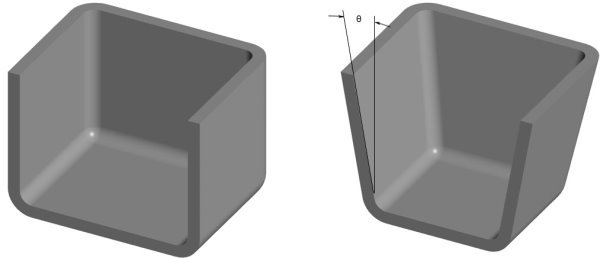 مقایسه طراحی صحیح زاویه خروج (سمت راست) و طراحی غلط زاویه خروج (سمت چپ)