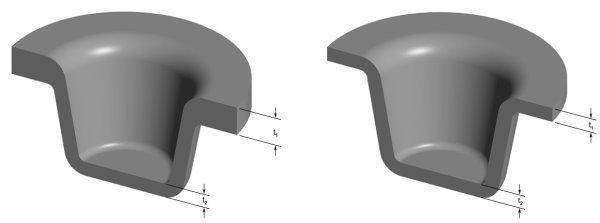 مقایسه طراحی صحیح (سمت راست) و طراحی غلط (سمت چپ) ضخامت دیواره قطعه در ریخته گری تحت فشار