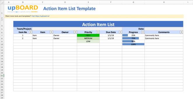 نمونهای از قالب آماده فهرست فعالیتها برای مدیریت پروژه در اکسل