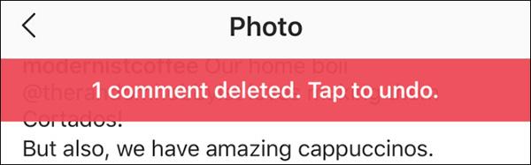 حذف کامنت در اینستاگرام