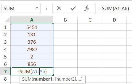 استفاده از تابع SUM برای محاسبه حاصل جمع چندین داده