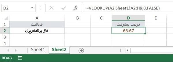 به کارگیری تابع VLOOKUP برای مدیری پروژه در اکسل