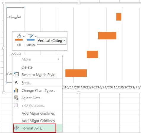 تغییر جهت نمایش دادههای محورهای نمودار در اکسل