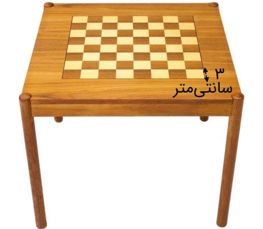 صفحه شطرنج بر روی میز مربعی شکل