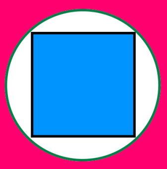 مساحت مربع محاط در دایره