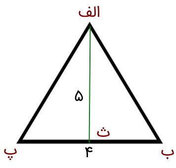 مثال ساده محاسبه مساحت مثلث با ارتفاع 5 و قاعده 4