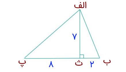 مساحت مثلث با ارتفاع 7 و قاعده 2+8