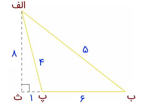 مساحت مثلث با زاویه باز با ارتفاع ۸ و قاعده ۶